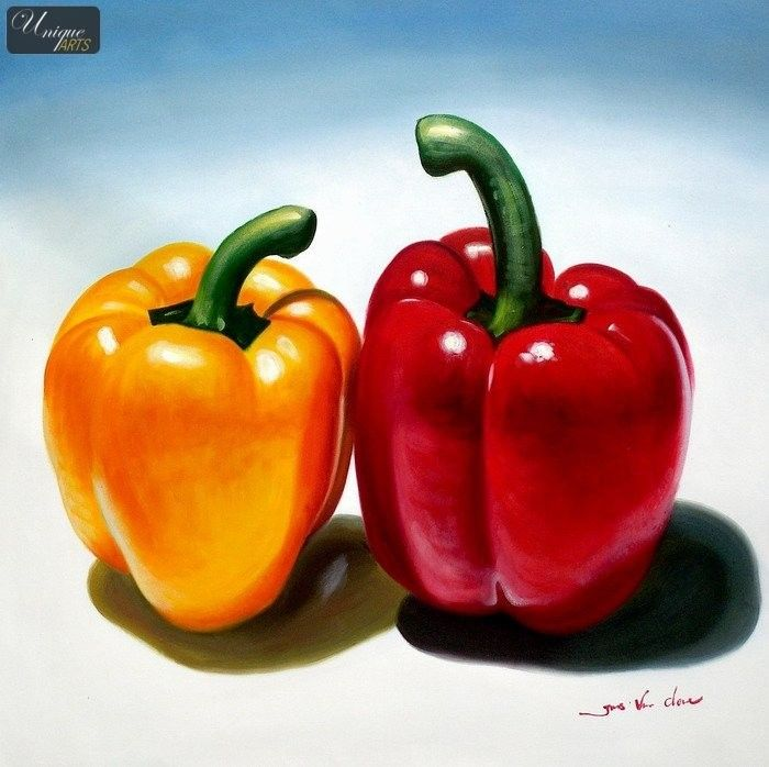 pepper drawings   ... - STILL LIFE WITH CAPSICUM BELL PEPPERS 32x32 ORIGINAL OIL PAINTING