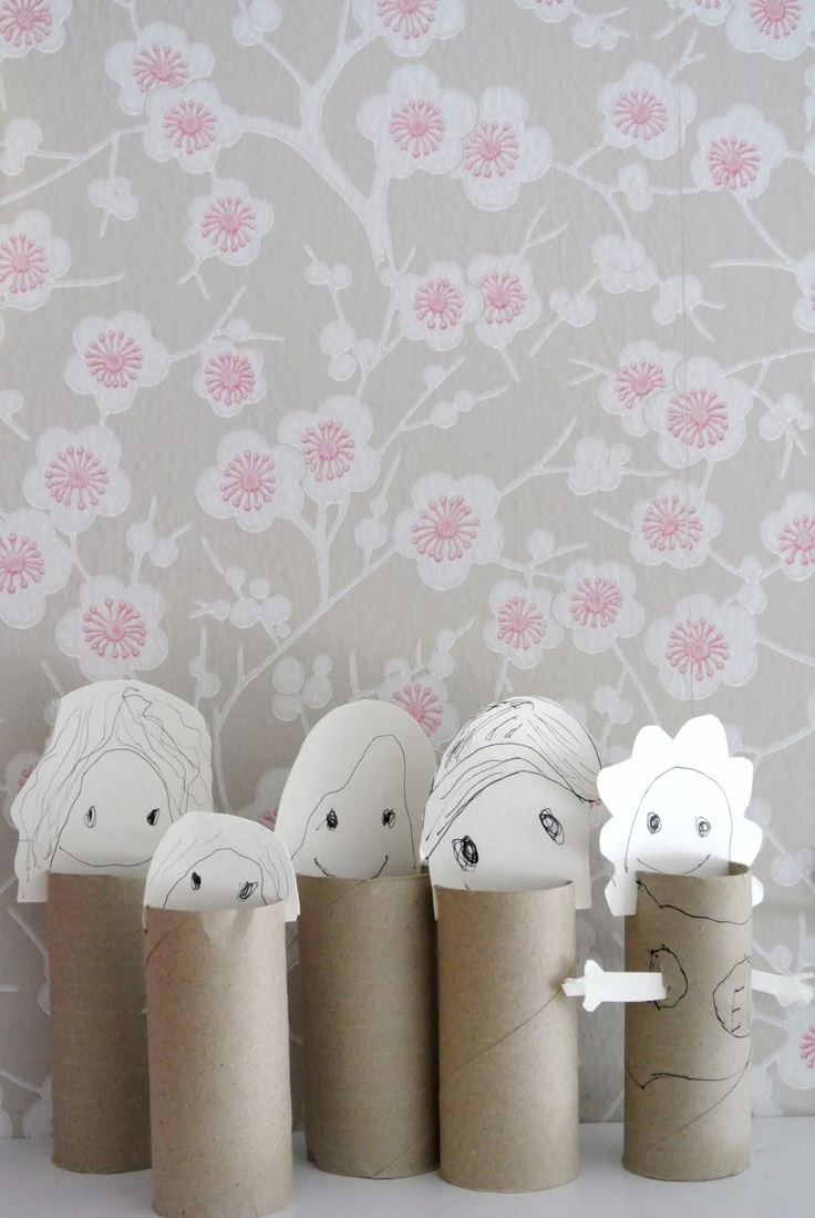 toilet paper roll people (they'd need to be painted; maybe glue fabric to them, add buttons and yarn hair?)