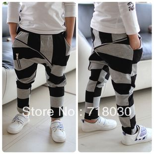 2013 new Children's clothing 2013 black and gray stripe big zipper kids 100% cotton harem pants casual pants boys girls pants