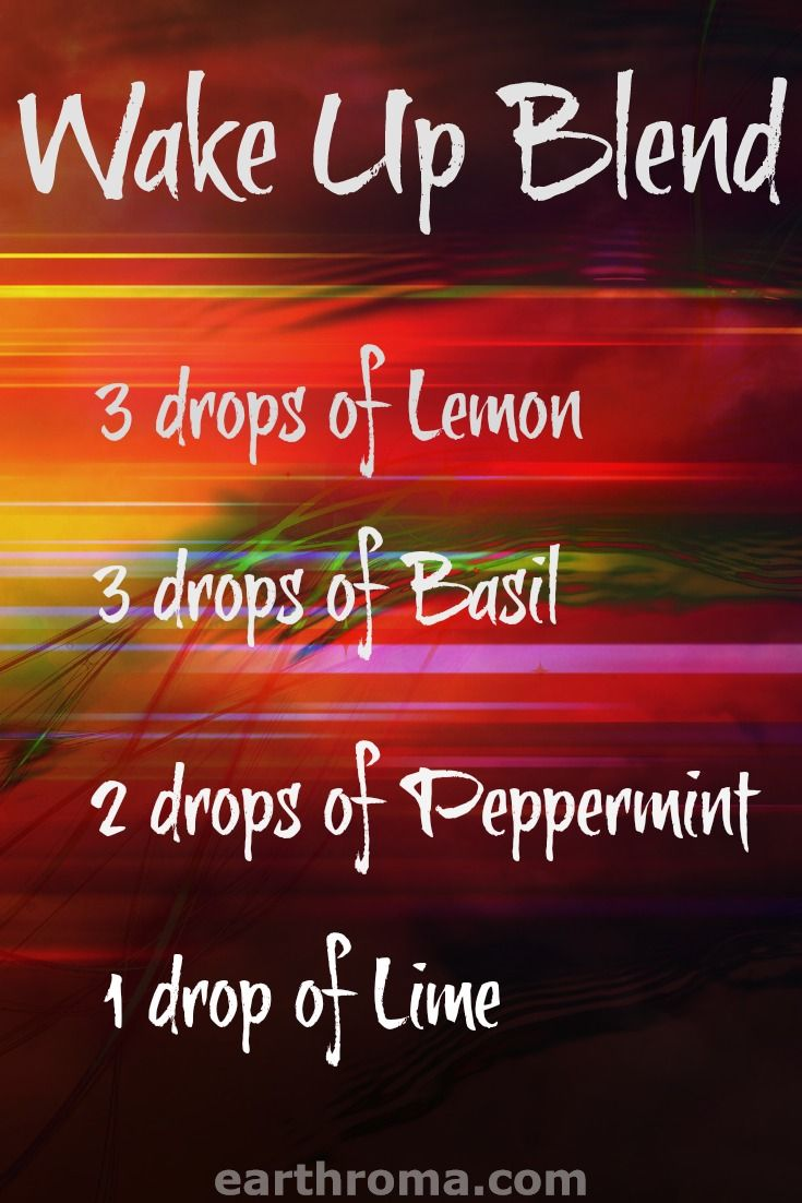 Essential Oil Wake Up diffuser blend recipe. 3 drops of Lemon Essential oil. 3 drops of basil essential oil. 2 drops of peppermint essential oil. 1 drop of lime essential oil. Place in your diffuser in the morning to wake up and gain a boost to your day!