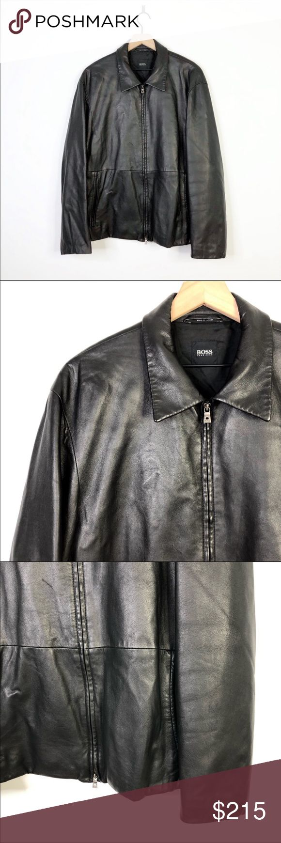 Hugo Boss Black Lambskin Leather Zip Up Jacket 44R Boss