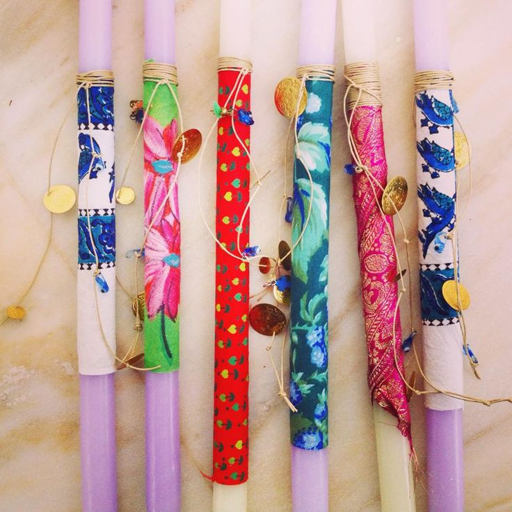 Easter candles made by the MELI team using vintage fabrics and Greek beads!