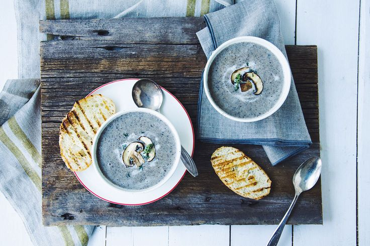 Creamy Mushroom and Herb Soup made with Natrel Lactose Free milk