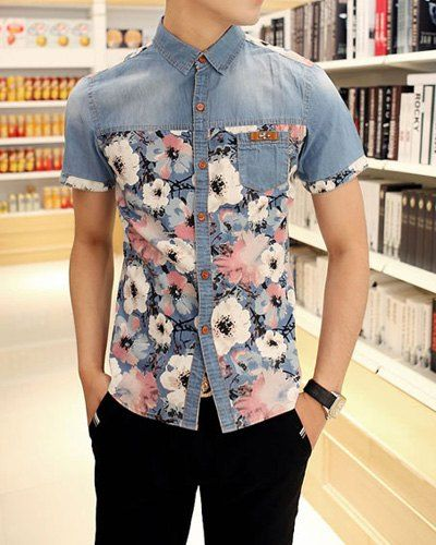 Summer Style Turn- down Collar Splicing Floral Print Men's Short Sleeves Cotton Shirt