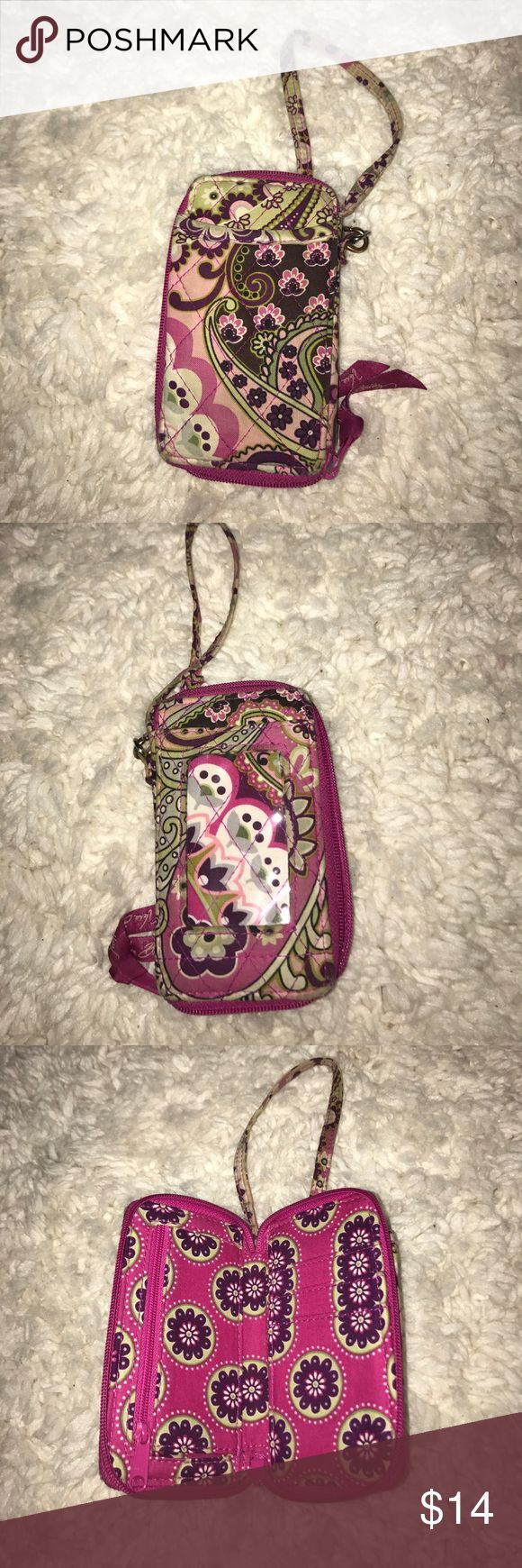"""Vera Bradley Wristlet """"Very Berry Paisley"""" Small Wristlet that holds a small phone, ID, cash, cards, and coins. Lightly used. Vera Bradley Bags Clutches & Wristlets"""
