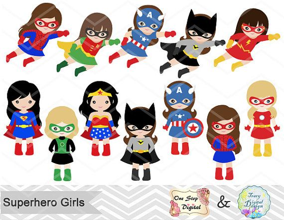 27 Superhero Girls Digital Clipart Superhero by OneStopDigital