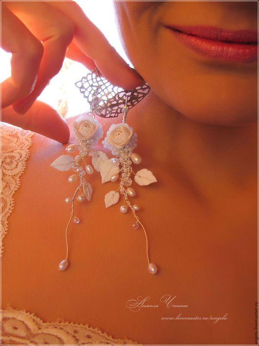 Длинные серьги с маленькими розами  Свадебные длинные серьги  Серьги-подвески для невесты