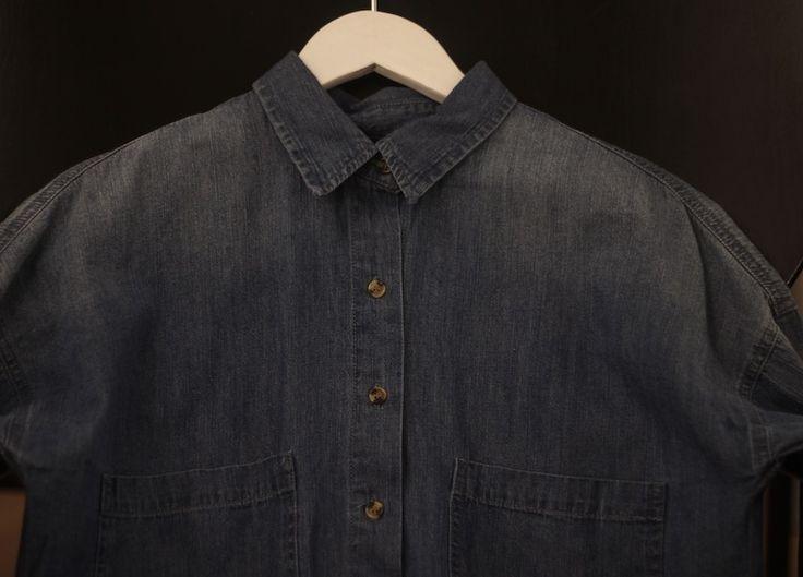 New style. Cool blue denim shirt. Black Swan Fashion SS17