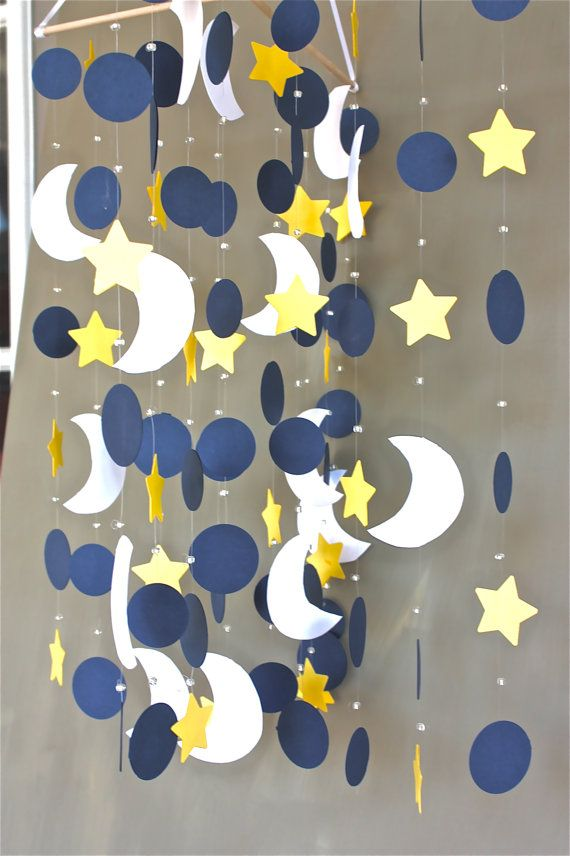 Baby crib mobile star moon nursery mobile baby mobile for Baby shapes mobile