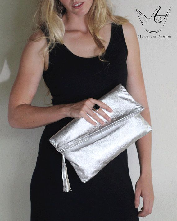 Silver Leather Clutch by MAHARANIatelier on Etsy, $112.00