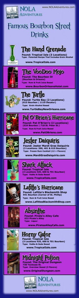 Famous Drinks of Bourbon Street & The French Quarter (InfoGraphic)