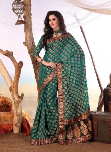 Teal Chanderi Silk Saree