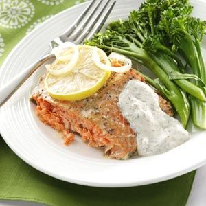 Salmon with Creamy Dill Sauce - i have been making this dish for years.  it is THE best salmon i've ever had.  it couldn't be easier to make -- and it presents beautifully.  in fact, this dish turned me into a salmon lover!