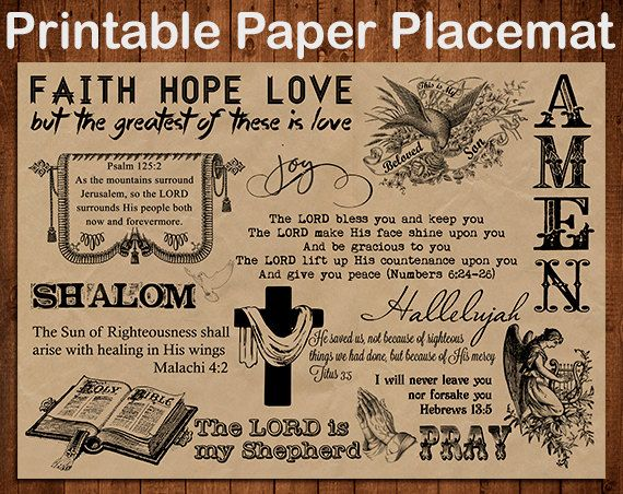 Printable Paper Placemats in 5 different by MKLiveLaughLoveShop, $3.00