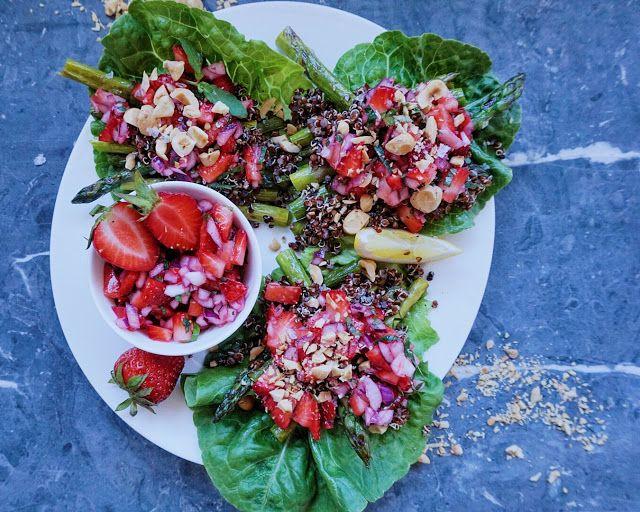 Vanløse blues.....: Salatwraps med grillede asparges & jordbærsalsa ( V + GF )