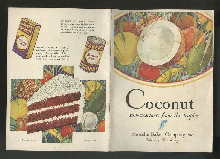 1928 Recipe Booklet Bakers Cocoanut COLOR in Collectibles, Paper, Booklets, 1920-39   eBay
