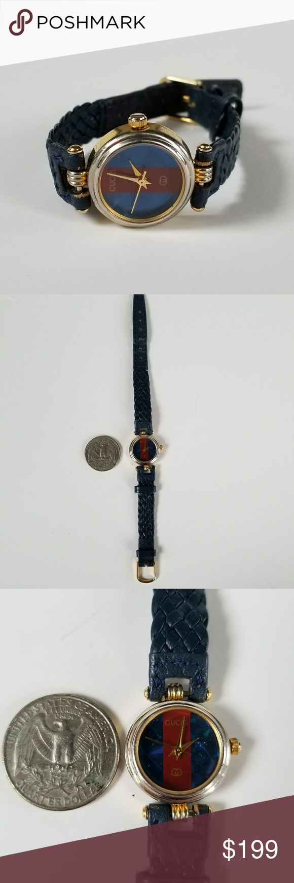 Gucci Leather Ladies Watch Authentic vintage 1980s Gucci leather ladies watch. In working condition! Iconic Gucci red and blue stripe face and blue leather band. Gucci Accessories Watches