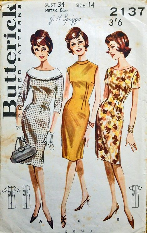 """Butterick 2137. 1960's dress. Bust 34"""". Traced copy. Complete."""