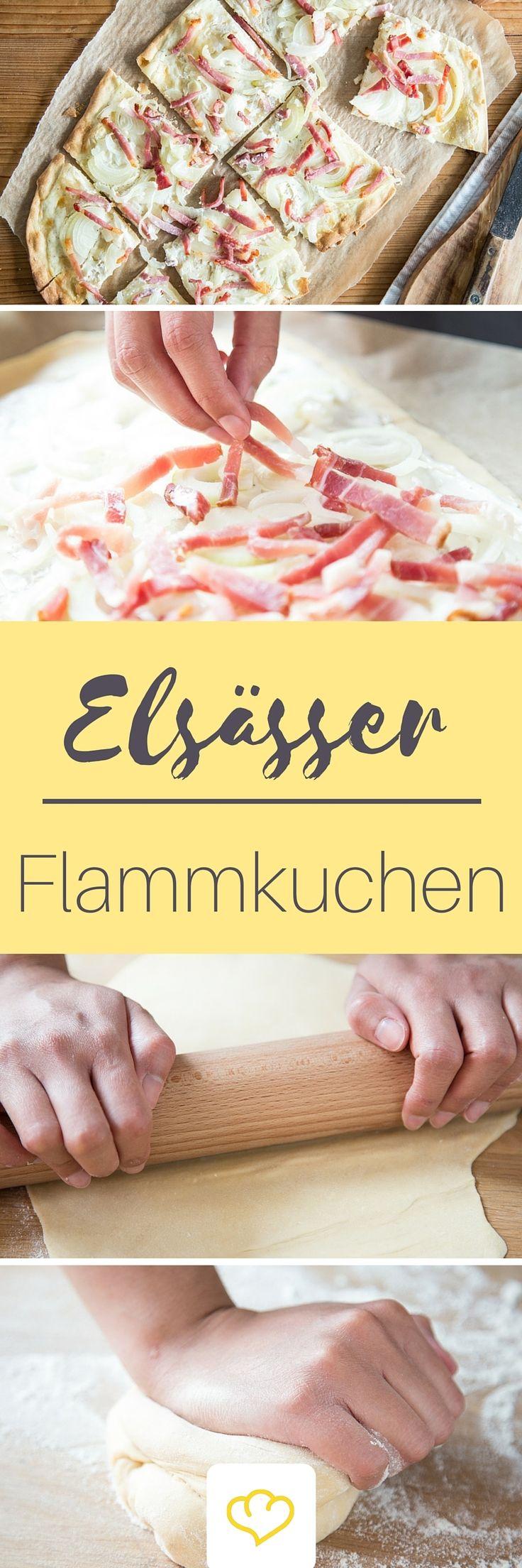 Flammkuchen lässt sich zuhause ganz einfach selber machen! Wie du den Klassiker aus dem Elsass mit Schmand, Zwiebeln und Speck in deinen eigenen Vier Wänden backst, erfährst du hier: