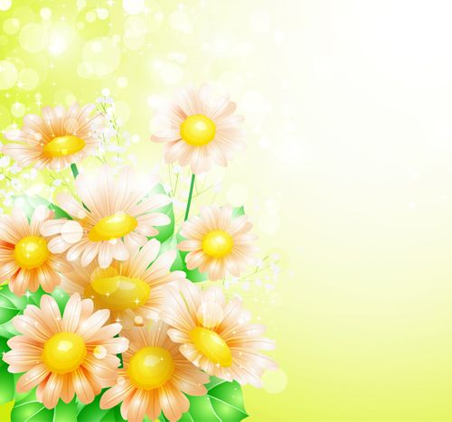 Spring Flower With Green Background Vector 02 Free Download: Shiny Spring Flowers Creative Background Vector 04