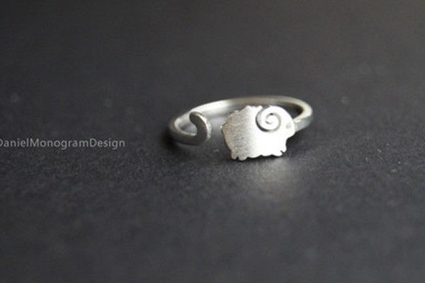 Ring--925 Sterling Silver sheep ring,cute adjustable sheep ring