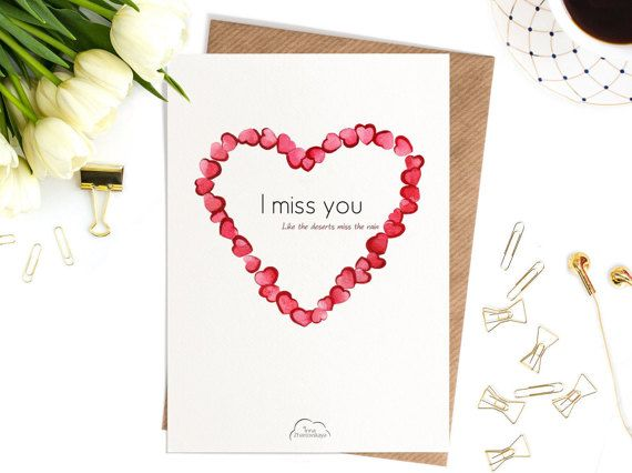 Printed Watercolor cards Heart I miss you like от WhiteWildRose