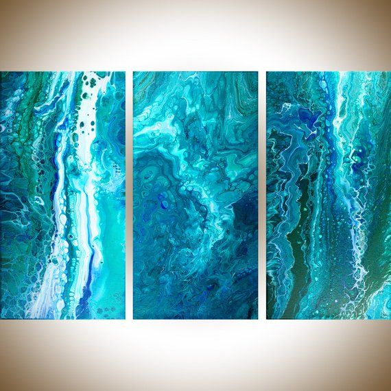 water and waves abstract art Original fluid art acrylic painting