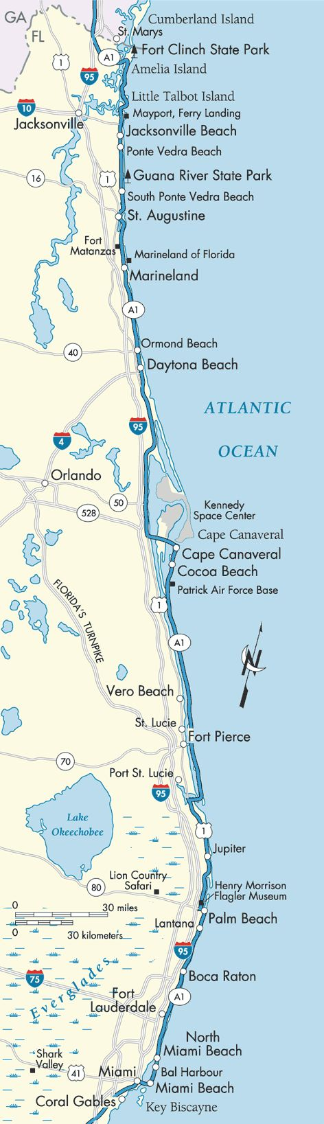 FL: St. Augustine, to either Marineland or Alligator Farm, then past Daytona all the way to Cape Canaveral/Cocoa Beach.