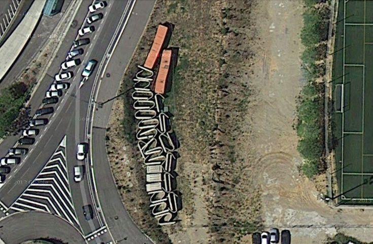 Clásicos de Arquitectura: Tiro con Arco Olímpico,Imagen Satelital de los Módulos Desmontados. Image Courtesy of Google Maps