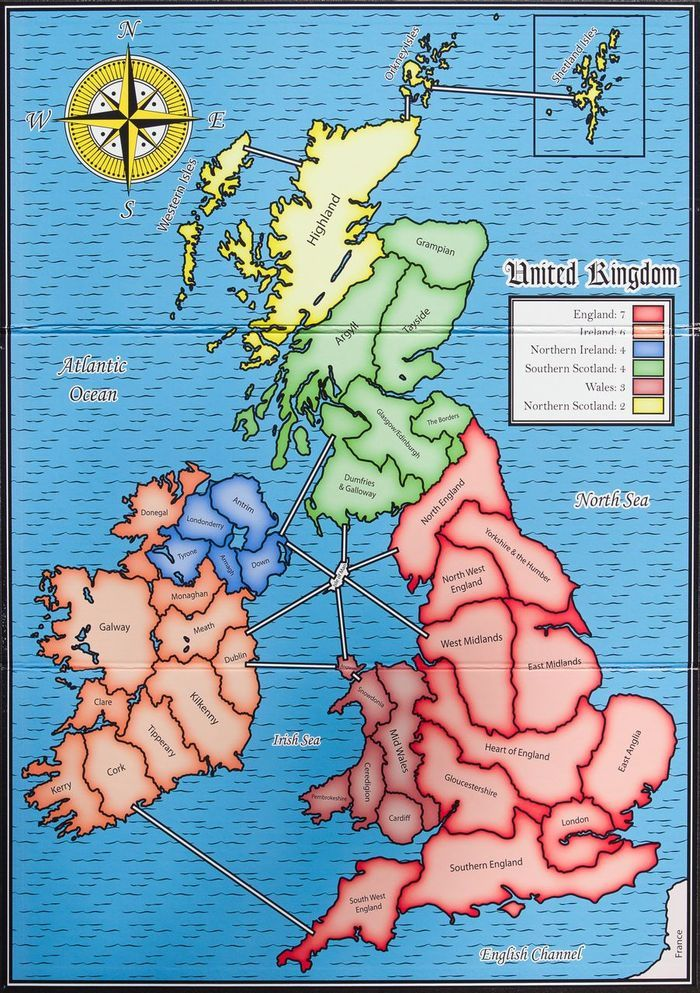 British Isles, with regions outlined