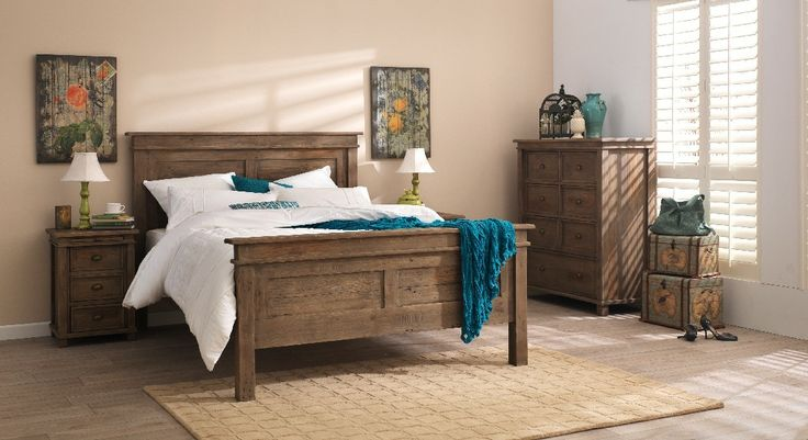 Settler rustic style light wooden bedroom furniture suite with white and teal linen and décor