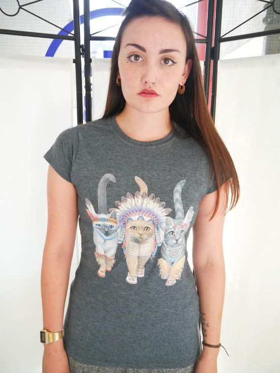 Cat Indians Ladies Cat T-shirt, Cats T-shirt, Cats, Pets, Ladies Cat top, Kittens, Urban Outfitters, Womens, Animals, Wildlife, Pets, New