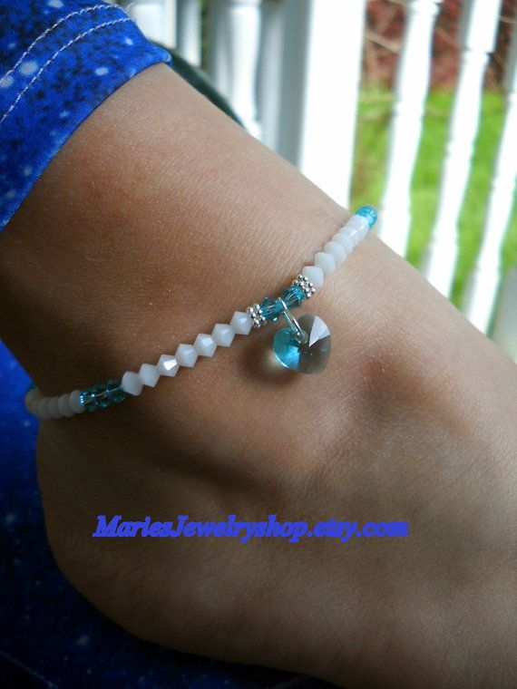 Made from Swarovski Crystals bought from Fusion Beads.com!! Stretch Anklet w/Swarovski Crystal Light by MariesJewelryshop, $36.00