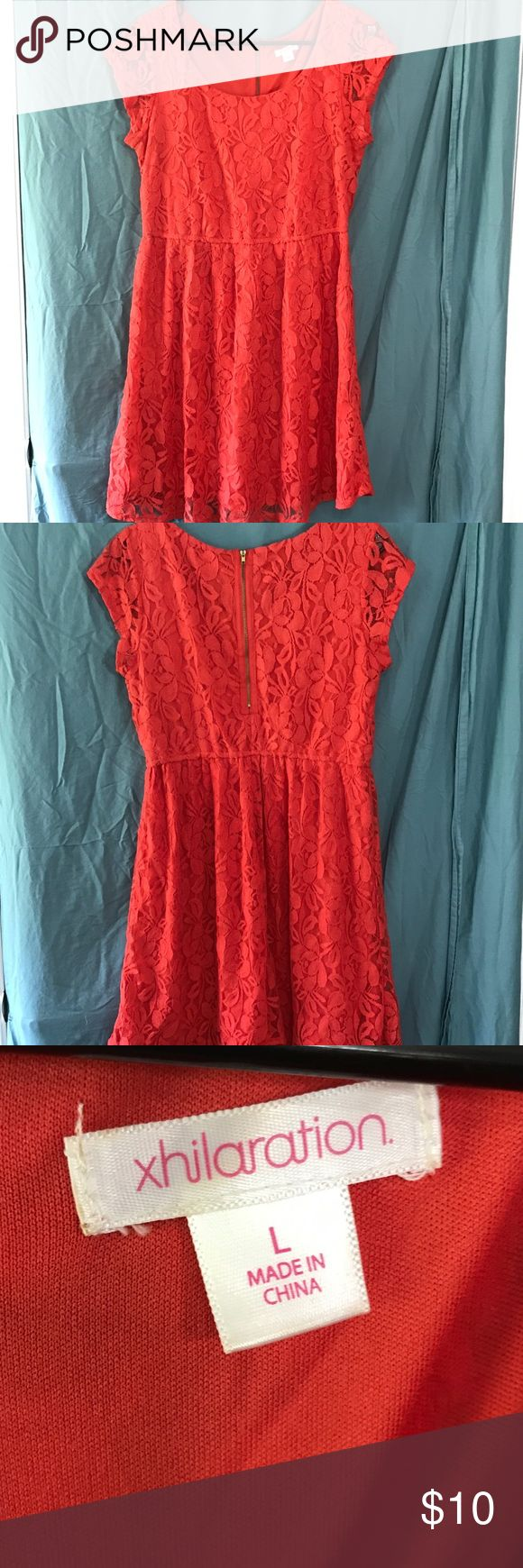 Coral lace dress Xhilaration• orange coral colored lace dress• worn once• extremely comfortable• size L• Xhilaration Dresses Midi