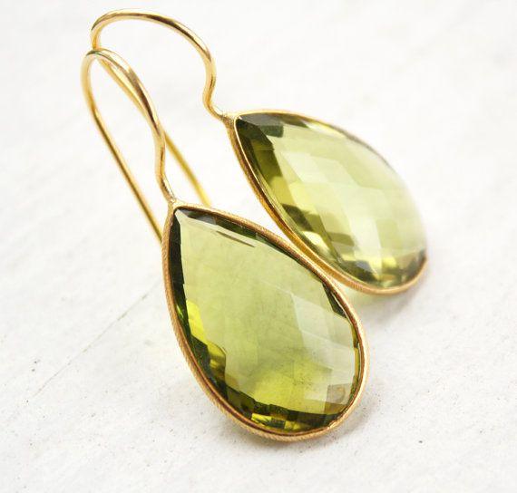 Green Peridot Quartz Earrings Teardrop Earrings by OhKuol, $65.00