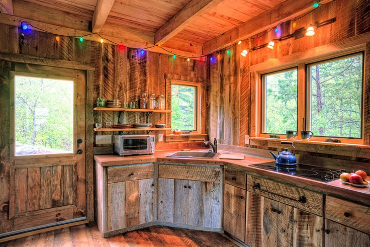 small cabins made from barns  made kitchen cabinets from