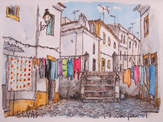 """洗濯日和(Elvasにて)- 絵画販売・美styleアート""""高橋文平 ヨーロッパの街角から"""""""