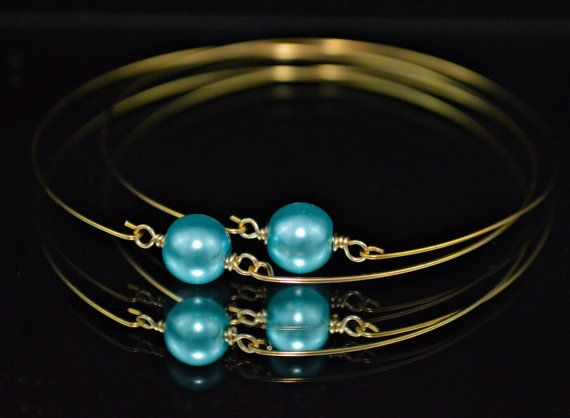 Turquoise Glass Pearls on Gold Bangle  Set of 2 by DizzleDesigns