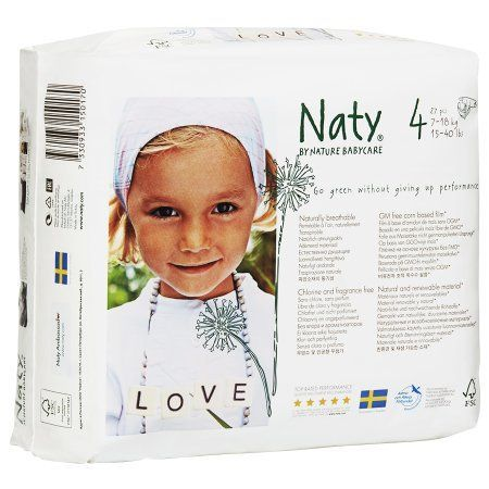 Naty by Nature babycare Eco-Diapers Size 4, 15-40lbs, 4 pk - 27 ea