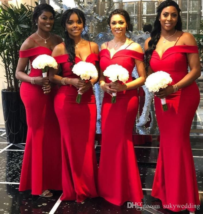 2019 Modest African Satin Mermaid Long Plus Size Bridesmaid Dresses Off The Shoulder Ruche Red Bridesmaid Dresses Bridesmaid Dresses Mermaid Bridesmaid Dresses
