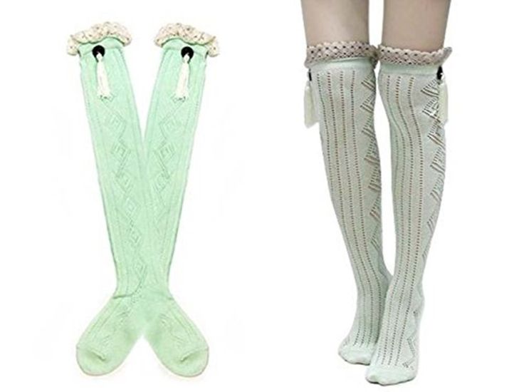 Knitting Factory Button Boot Socks with String and Lace Trim (Emerald). Cotton blended+Lace 95% Cotton 5 % Spandex. Item can keep warming, protect your legs. Create Pin worthy outfits! Snuggling on the couch never looked this good, or was this cozy either!. Easy Care: Machine-washable, extremely color-fast and very resistant to deterioration from sunlight exposure. 20 Inches Long.