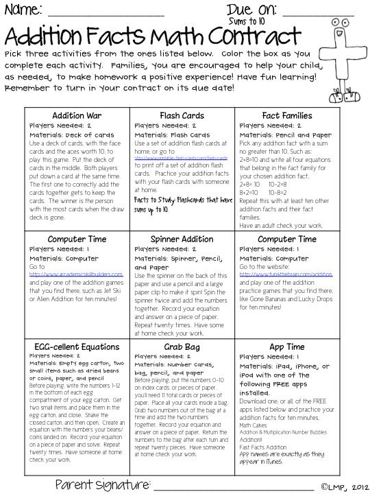 Math Facts Contract2Nd Grade Math Facts, Math Contract, 2Nd Grade Addition Activities, Homework Ideas, Multiplication Facts, Addition Facts, Facts Giveaways, Addition Activities 2Nd Grade, Facts Contract