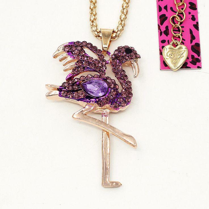Purple Crystal Rhinestone Flamingo Bird Pendant Betsey Johnson Animal Necklace    eBay