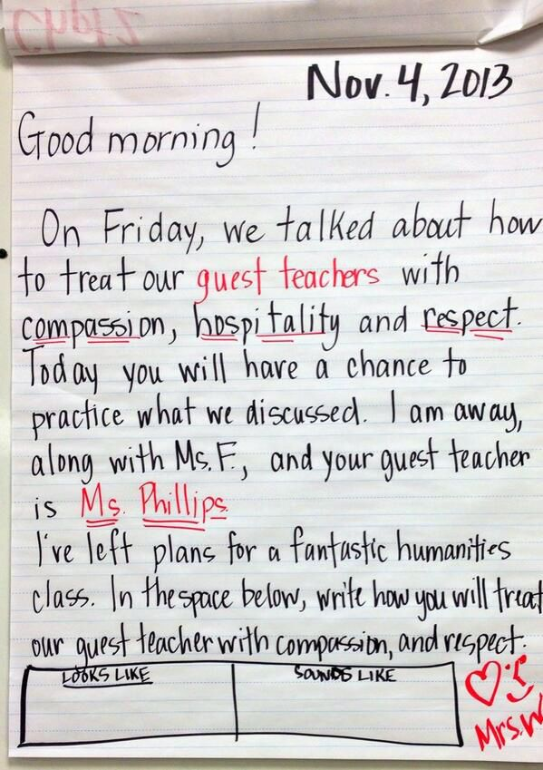 To prepare the class for a guest teacher, a morning meeting message posted on Twitter by Lisa DeweyWells, where she is ‏@Lisa Dewey Wells.