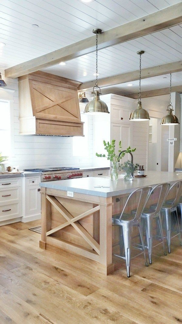 White Kitchen Wood Accents Beams On Ceiling Hood Vent Kitchen