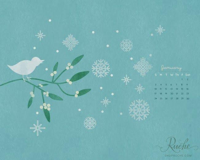 Blueberry Days: January Desktop Calendar