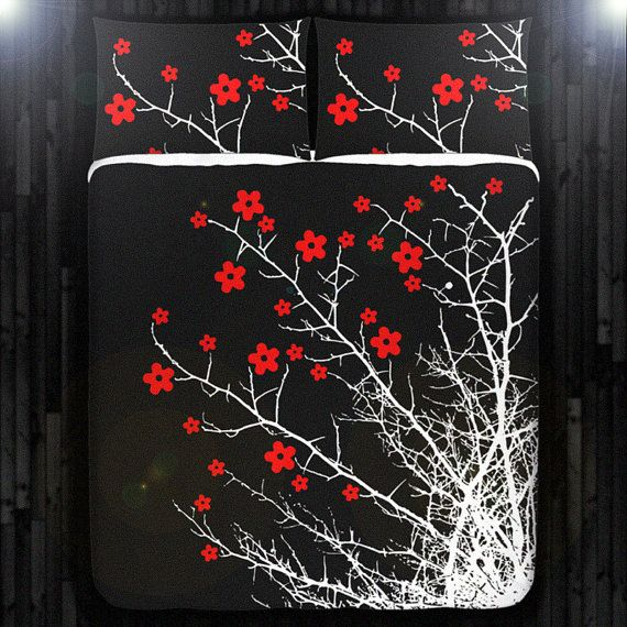 Red Cherry Blossom Tree Duvet Cover Bedding Queen Size King Twin ...