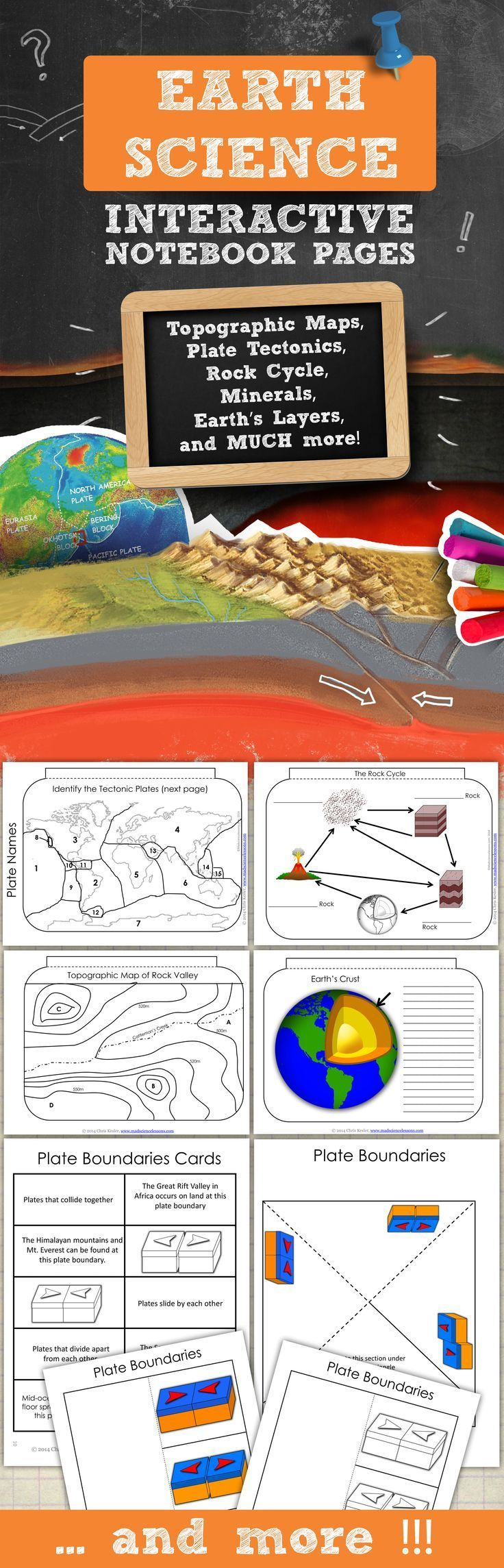 Earth Science for Science Interactive Notebooks - topics include topographic maps, convergent, divergent, transform plate boundaries, plate tectonics, Earth's layers, rock cycle, minerals, Pangaea, and more