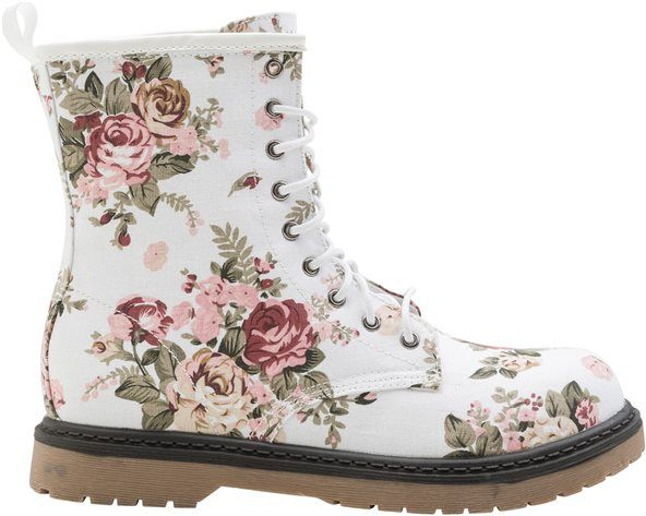 Floral Combat Boots. Love the juxtaposition of girly floral with rugged combat boots.