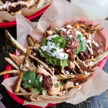 Tijuana Street Fries (Honey Glazed Chipotle Carnitas, Fries   Toppings).